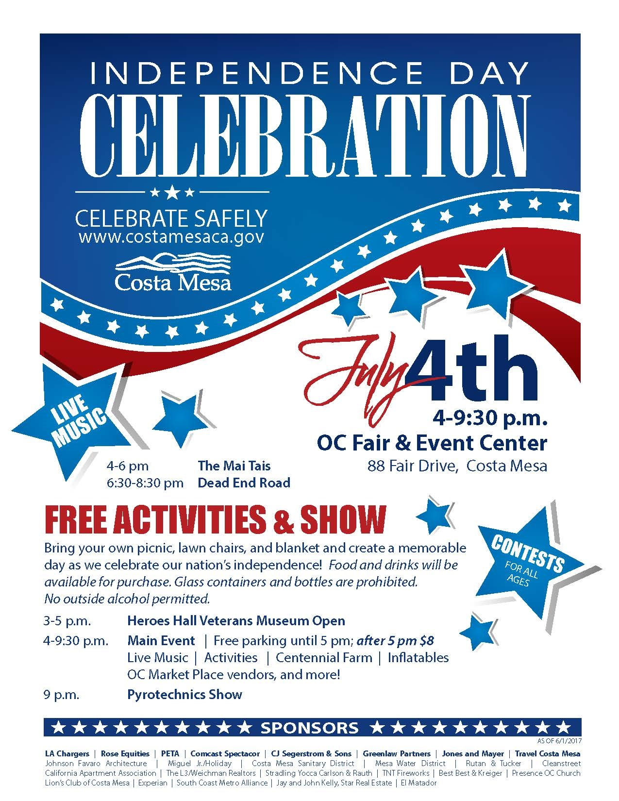 Celebrate safely independence day celebration city of for Costa mesa motor inn